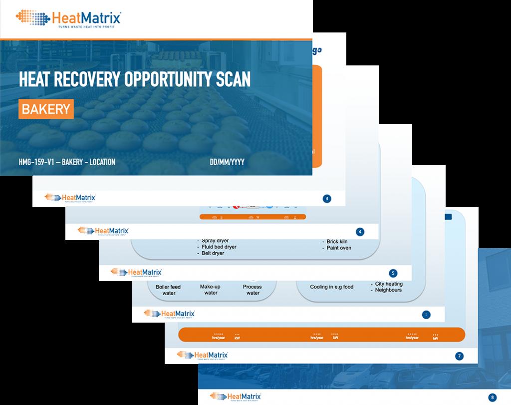 HeatMatrix heat recovery opportunity scan for an industrial bakery