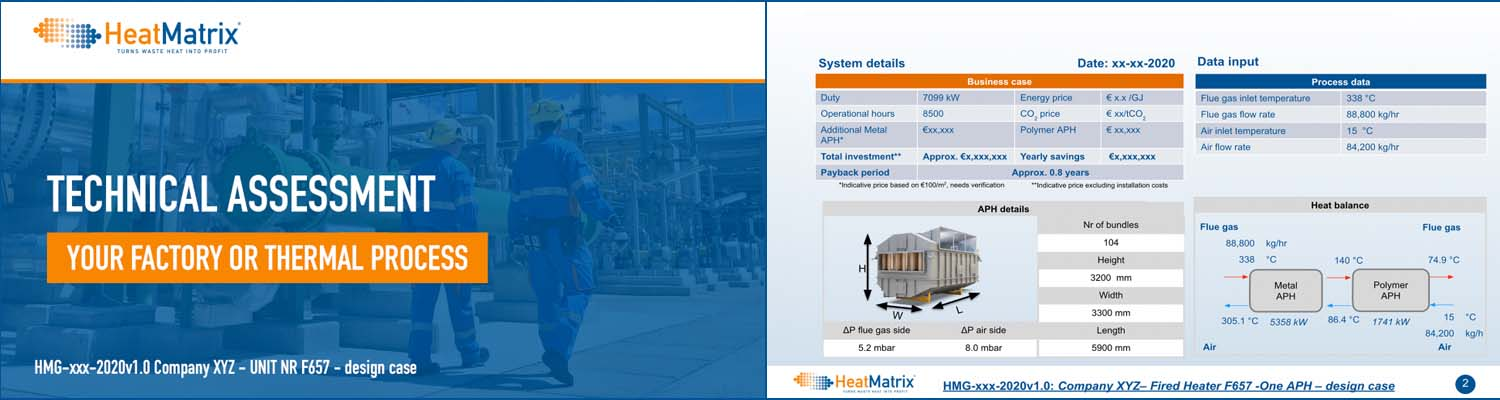 HeatMatrix technical assessment of heat recovery for your industrial factory or thermal process