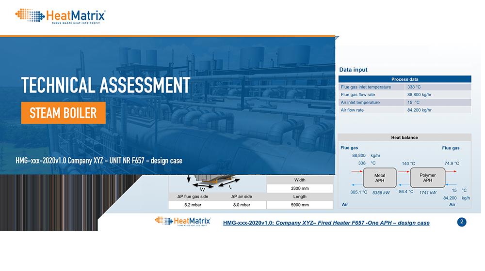 HeatMatrix technical assessment of heat recovery on a steam boiler