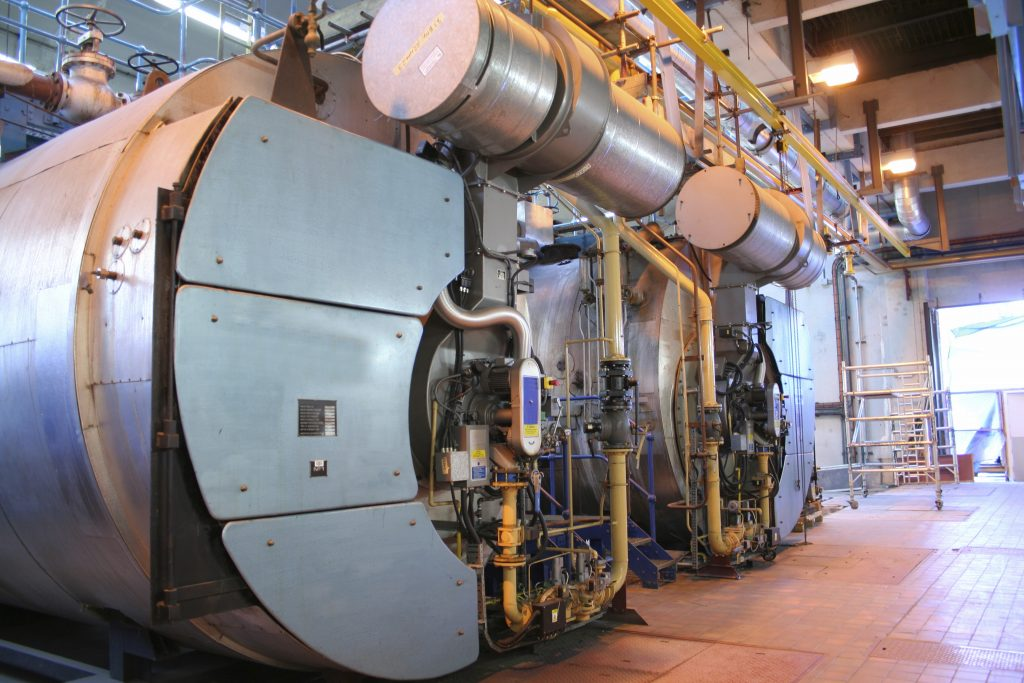 Steam boilers at an industrial factory