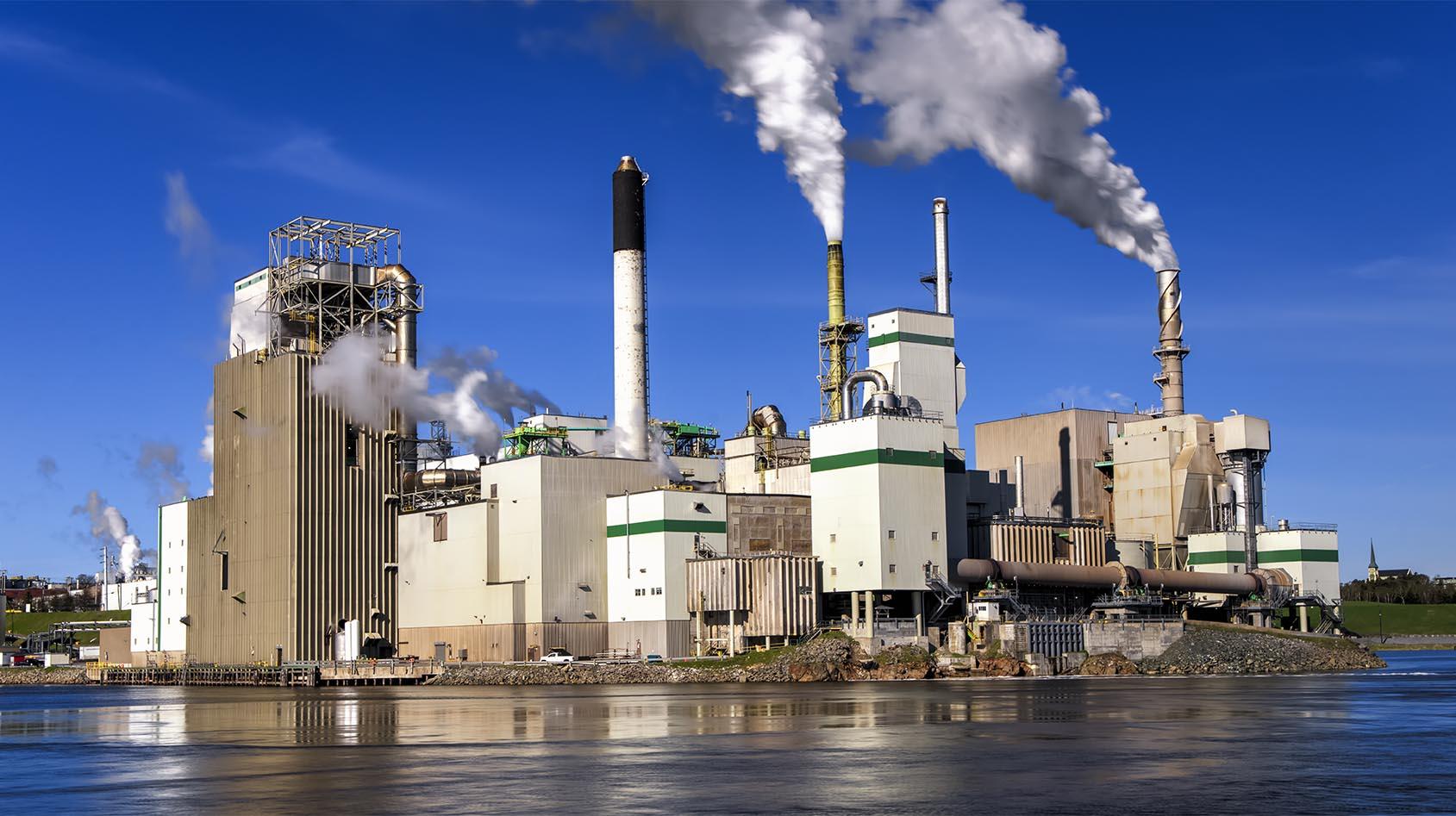 HeatMatrix paper industrial factory emitting flue gases