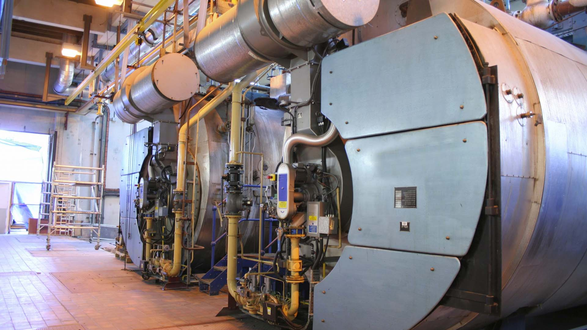 Steam boiler at an industrial factory