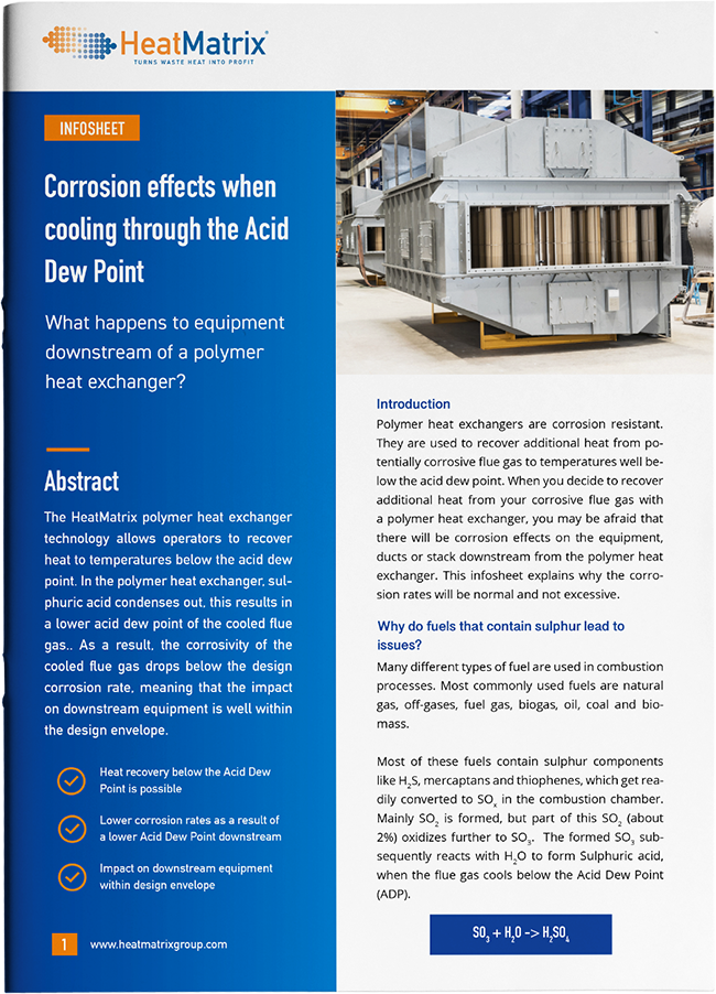 HeatMatrix infosheet about corossion effects when cooling through the Acid Dew Point