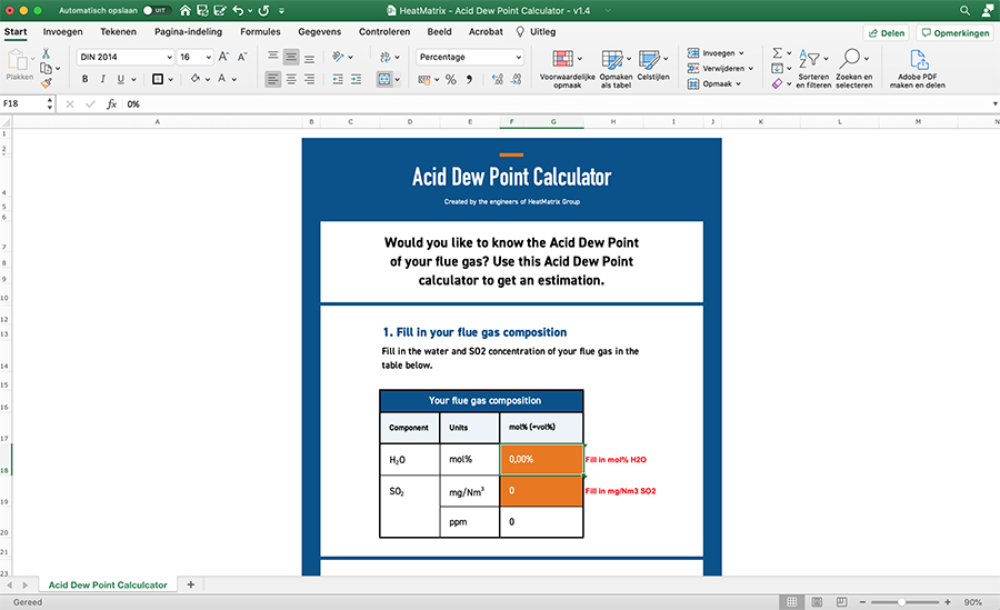 Calculation .xls Excel tool to calculate the Acid Dew Point of flue gas