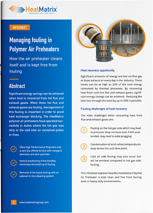 HeatMatrix infosheet about managing fouling in polymer air preheaters