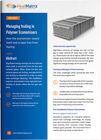 HeatMatrix infosheet about managing fouling in polymer economisers